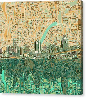 Cincinnati Skyline Abstract 2 Canvas Print