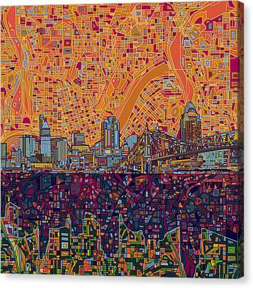 Cincinnati Skyline Abstract 3 Canvas Print