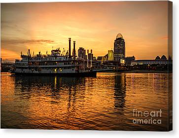 Cincinnati Skyline And Riverboat At Sunset Canvas Print by Paul Velgos