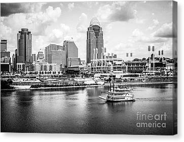 Cincinnati Skyline And Riverboat Black And White Picture Canvas Print by Paul Velgos