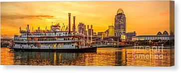 Cincinnati Skyline And Riverboat Panorama Photo Canvas Print by Paul Velgos