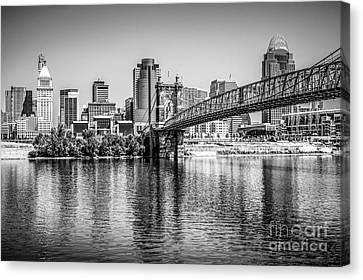 Cincinnati Skyline And Roebling Bridge Black And White Picture Canvas Print by Paul Velgos