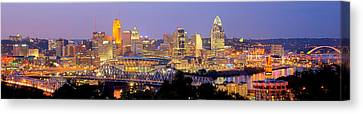 Mlb Canvas Print - Cincinnati Skyline At Dusk Sunset Color Panorama Ohio by Jon Holiday