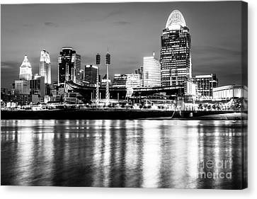 Cincinnati Skyline At Night Black And White Picture Canvas Print by Paul Velgos