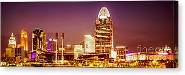 Ballpark Canvas Print - Cincinnati Skyline At Night Panoramic Picture by Paul Velgos