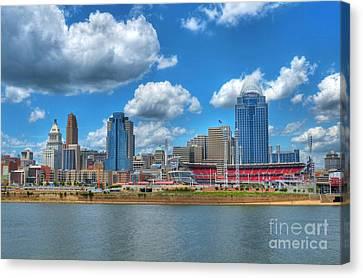 Mlb Canvas Print - Cincinnati Skyline by Mel Steinhauer