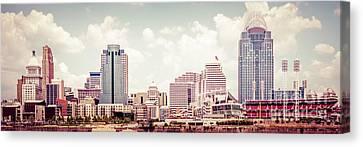 Cincinnati Skyline Panorama Vintage Photo Canvas Print by Paul Velgos