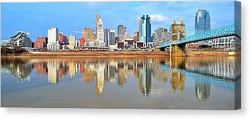 Cincinnati Skyline Panoramic Canvas Print by Frozen in Time Fine Art Photography
