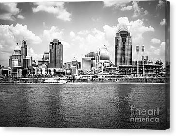 Ballpark Canvas Print - Cincinnati Skyline Photo In Black And White by Paul Velgos
