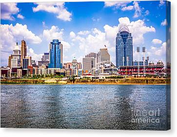 Ballpark Canvas Print - Cincinnati Skyline Photo by Paul Velgos