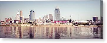 Ballpark Canvas Print - Cincinnati Skyline Retro Panorama Photo by Paul Velgos