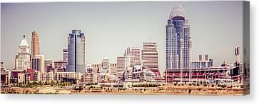 Cincinnati Skyline Retro Panorama Picture Canvas Print by Paul Velgos