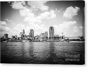 Ballpark Canvas Print - Cincinnati Skyline Riverfront Black And White Picture by Paul Velgos