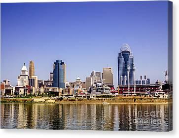 Cincinnati Skyline Riverfront Downtown Office Buildings Canvas Print by Paul Velgos