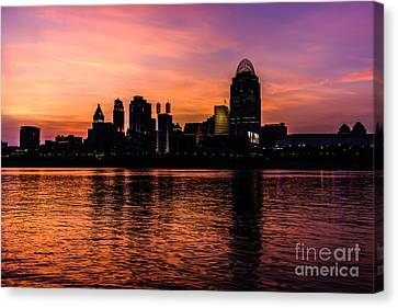 Cincinnati Skyline Sunset At Night Canvas Print by Paul Velgos