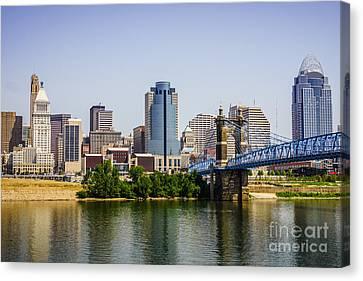 Cincinnati Skyline With Roebling Bridge Canvas Print by Paul Velgos