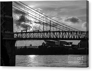 Cincinnati Suspension Bridge Black And White Canvas Print by Mary Carol Story