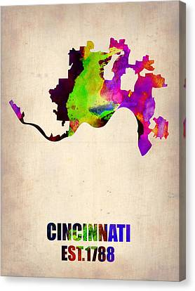 Cincinnati Watercolor Map Canvas Print by Naxart Studio