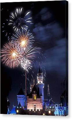 Cinderella Castle Fireworks Iconic Fairy-tale Fortress Fantasyland Canvas Print