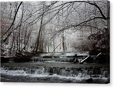 Cinderella Falls In Winter Canvas Print by Rachel Hallmark