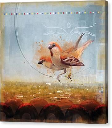 Cinnamon Sparrows Canvas Print by Alex Tomlinson