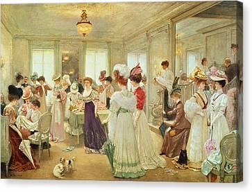Cinq Heures Chez Le Couturier Paquin, 1906 Canvas Print by Henri Gervex
