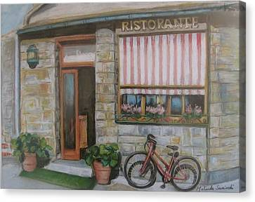Capuccino Canvas Print - Cinque Terra Cafe With Bicycle by Melinda Saminski
