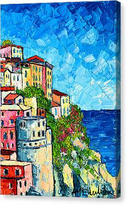 Cinque Terre Italy Manarola Painting Detail 3 Canvas Print by Ana Maria Edulescu