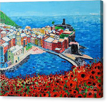 Cinque Terre Vernazza Poppies Canvas Print by Ana Maria Edulescu
