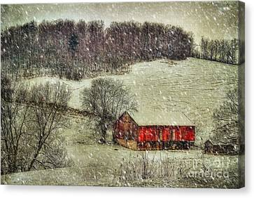 Red Barn In Snow Canvas Print - Circa 1855 by Lois Bryan