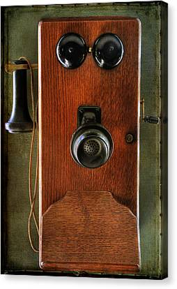 Circa 1920's Antique Wall Phone Canvas Print by Donna Kennedy