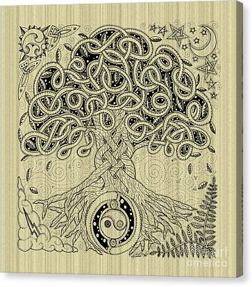 Circle Celtic Tree Of Life Inked Canvas Print by Kristen Fox
