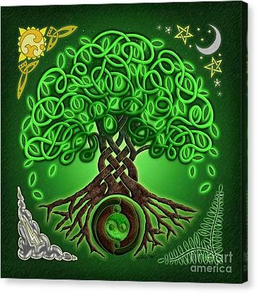 Circle Celtic Tree Of Life Canvas Print by Kristen Fox