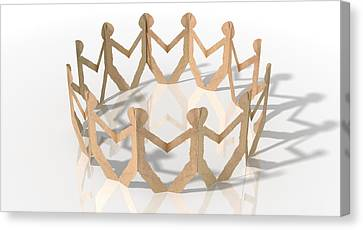Cardboard Canvas Print - Circle Of Cutout Paper Cardboard Men by Allan Swart