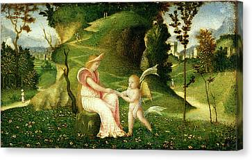 Circle Of Giorgione, Venus And Cupid In A Landscape Canvas Print by Litz Collection