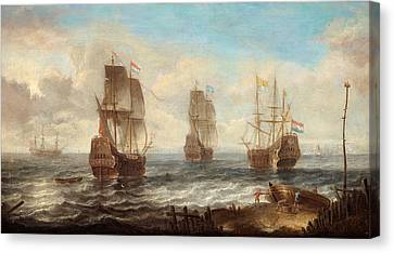 Canvas Print featuring the painting Circle Of Sailing Ships by Jacob Adriaensz Bellevois
