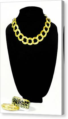 Gold Necklace Canvas Print - Circles by Diana Angstadt