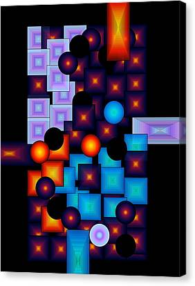 Canvas Print featuring the digital art Circles Vs.squares by Gayle Price Thomas