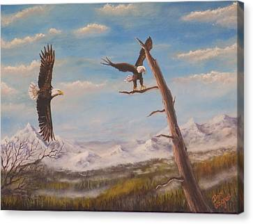 Canvas Print featuring the painting Circling Eagle by Dan Wagner