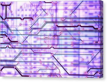 Circuit Trace Canvas Print by Jerry McElroy