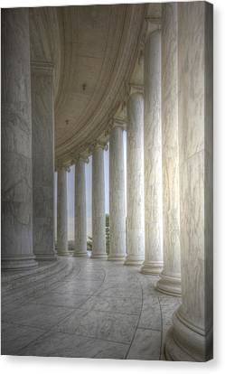 Circular Colonnade Of The Thomas Jefferson Memorial Canvas Print by Shelley Neff