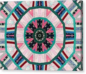 Circular Patchwork Art Canvas Print by Barbara Griffin