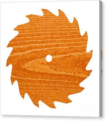 Circular Saw Blade With Pine Wood Texture Canvas Print by Stephan Pietzko