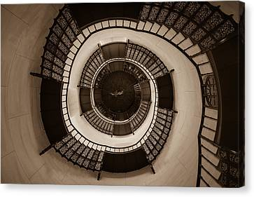 Circular Staircase In The Granitz Hunting Lodge Canvas Print by Andreas Levi
