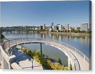 Canvas Print featuring the photograph Circular Walkway On Portland Eastbank Esplanade by JPLDesigns