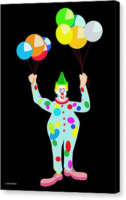 Circus Clown With Balloons Canvas Print