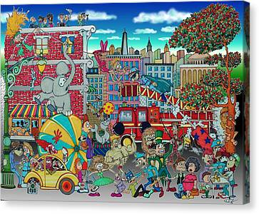 Lamp Post Canvas Print - Circus In The City by Paul Calabrese