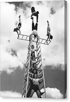 Circus Performers Practice Canvas Print by Underwood Archives