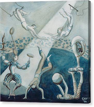 Circus Scene I, 1994 Wc On Paper Canvas Print by Carolyn Hubbard-Ford
