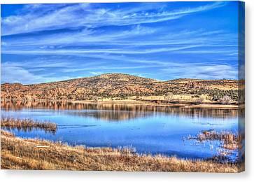 Cirrus Skies At The Lake Canvas Print